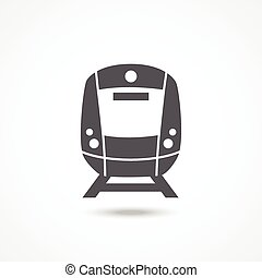 Train icon - Train Gray icon with shadow on white