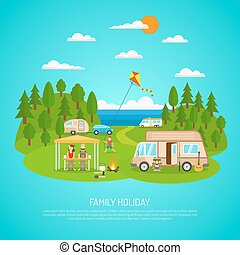 Family Camping Illustration - Family camping by the sea with...