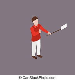 man making selfie - Young man in red shirt and white pants...