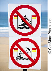 warning signs for surfers in ballybunion on the wild...