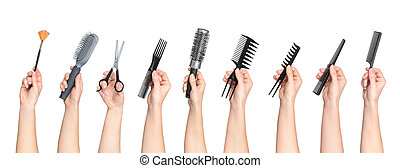 collection of hands holding tools for hair salon isolated on...