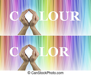 Color Healing Therapy Banner x 2 - Female hands making the O...