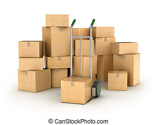 Hand truck with a Pile of cardboard boxes. Part of warehouse and logistics series.
