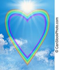 Rainbow love heart blue sky frame - A large empty rainbow...
