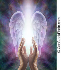 Sensing Angelic Energy - Male hands reaching up into a...