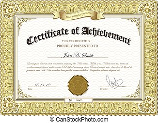 Gold detailed certificate - Vector illustration of gold...
