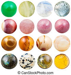 balls from natural mineral gemstones isolated - balls of...