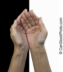 Humble Hands - Female cupped hands isolated on a half and...