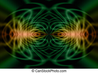 Geometric Pareidolia Background - Green and gold lines...