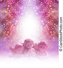 Loving Cherub background - Three pink cherubs staring out...