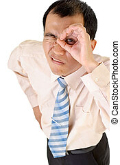 Businessman watching gesture with funny expression on white...