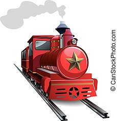 Red locomotive - Old steam locomotive with golden star,...