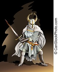 Crusader - Heavy armored Crusader, Knight of Order, with a...