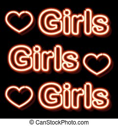 Vintage neon sign - Neon sign with the word girls. Vintage...