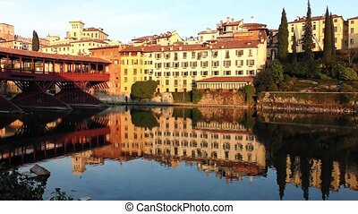 Bassano del Grappa panorama - Famous old wooden bridge Ponte...
