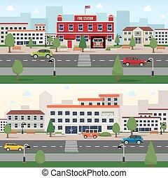 Municipal buildings banner set - Municipal buildings...
