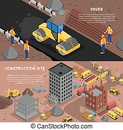 Construction Banners Set - Construction isometric horizontal...