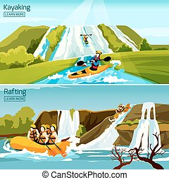 Rafting Canoeing Kayaking Compositions - Two colorful active...