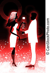 Dancing couple - Silhouette of couple having drinks
