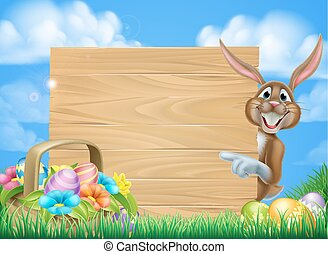 Cartoon Easter Bunny Sign - Cartoon easter scene of an...