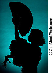 Fan silhouette - Silhouette of a Spanish flamenco dancer...