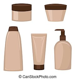 Set of cosmetic containers.