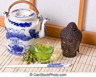 té, ventana, verde,  Shoji