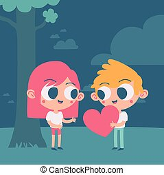 Cute Couple Trading a Heart Under a Tree - Vector...