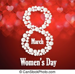 Womens Day poster. Red background