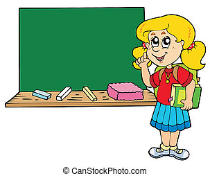 Advising school girl with blackboard - vector illustration