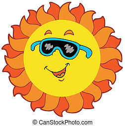 Happy cartoon Sun - vector illustration.