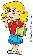 Advising school girl - vector illustration