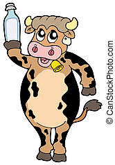 Cartoon cow holding bottle of milk - vector illustration.