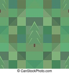 green square pattern many trees background