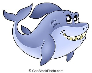 Big cartoon shark - color illustration