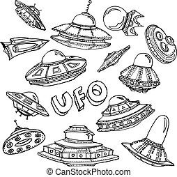 Collection of UFO. Set of hand drawn graphic illustration on...