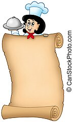 Old scroll with lurking woman chef - color illustration