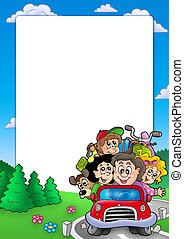 Frame with family going on vacation - color illustration.