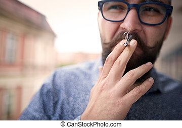 Smoking kills - Close up of a smoking man