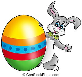 Easter bunny with colorful egg - color illustration