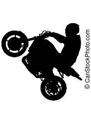 Motors rider - People and sport bike on white background