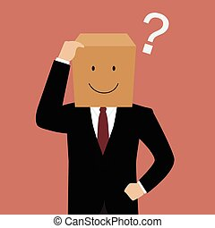 Confused businessman with a cardboard box on his head Vector...