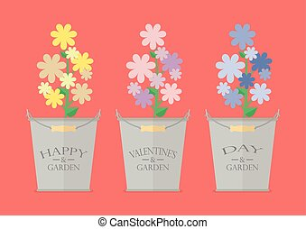 Flowers in pots with word Happy Valentine's Day. Greeting...