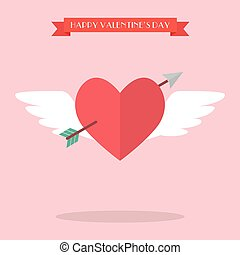 Heart flying with cupid arrow. Happy valentine's day