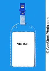 Visitor badge ID isolated on blue background