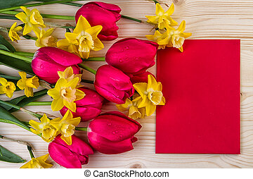 Red and yellow flowers text space