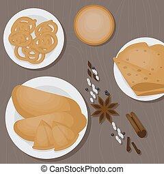 Vedic Indian cuisine, set of vegetarian healthy food top...