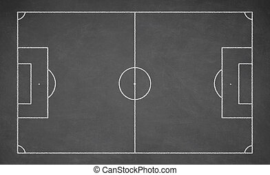 Soccer board, black - Soccer board drawn with white chalk on...