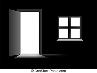Open Door Dark Room stock illustration of open door to dark room with bright light