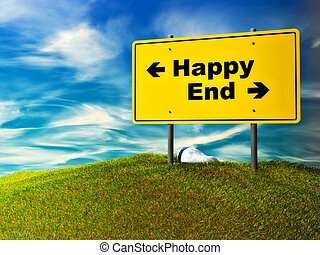 happy or end - Concept of choice directions Made in 3D